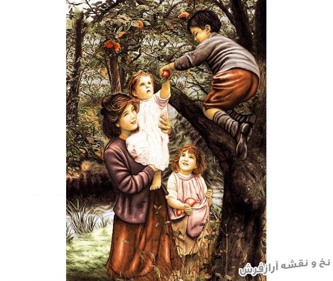 نخ و نقشه و مصالح کامل آماده بافت تابلو فرش طرح پسر میوه چین با مادر و فرزندان کد 1956