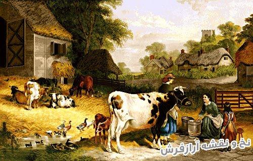 نخ و نقشه و مصالح بافت تابلو فرش طرح منظره روستا و دهکده با حیوانات و کلبه کد 2401