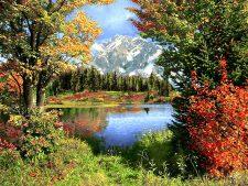 نخ و نقشه و مصالح آماده بافت تابلو فرش طرح منظره زیبای کوهستان، برکه و درختان کد z100