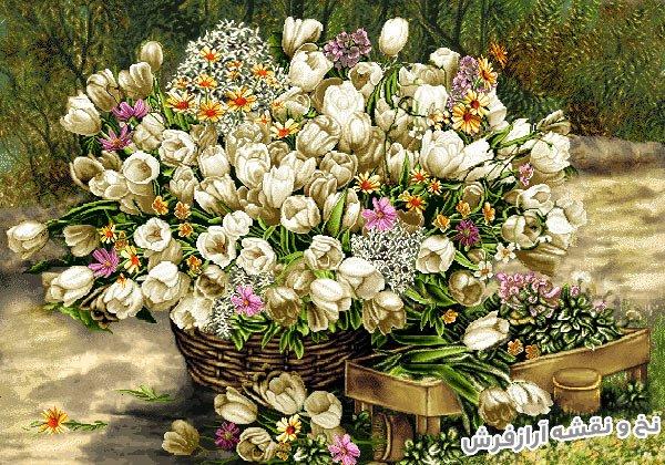 نخ و نقشه و مصالح بافت تابلو فرش طرح گل لاله سفید جنگلی کد 1153