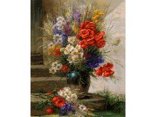 نخ و نقشه و مصالح بافت تابلوفرش طرح گل و گلدان روی پله کد 1161