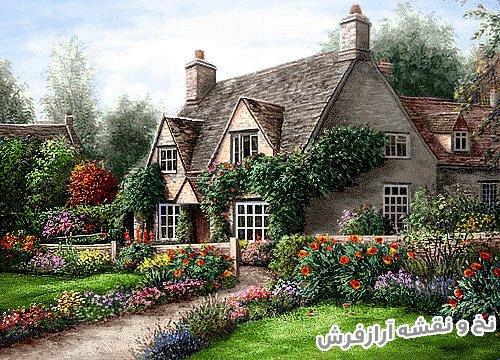 نخ و نقشه کامل آماده بافت تابلو فرش طرح منظره خانه و کلبه زیبا کد 2551