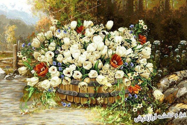 نخ و نقشه و مصالح بافت تابلو فرش دستباف طرح سبد حصیری گل لاله های زیبا کد 1105