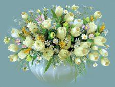 نخ و نقشه و مصالح آماده بافت تابلو فرش دستباف طرح گلدان گل لاله سفید با پس زمینه ساده کد 1117