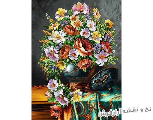 نخ و نقشه آماده بافت تابلو فرش دستباف طرح گل و گلدان قندانی کد 1455