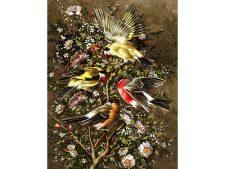 نخ و نقشه بافت تابلو فرش طرح گنجشک و پرنده های زیبا و خوش رنگ کد 1621