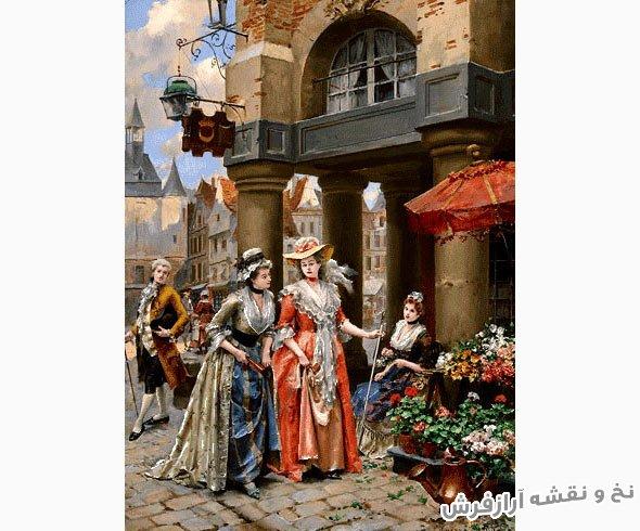 نخ و نقشه تبریز و مصالح آماده بافت طرح دختر گل فروش در بازارچه کد 1792