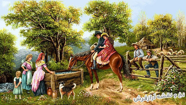 نخ و نقشه آماده بافت تابلو فرش دستباف طرح منظره دهکده و اسب سواری کد 1878