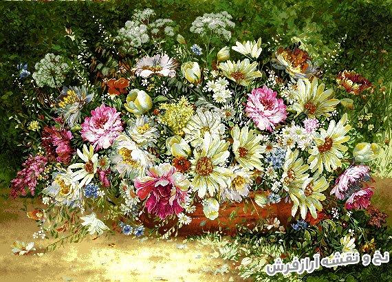 نخ و نقشه تابلو فرش دستباف طرح گل های وحشی زیبا کد 1177