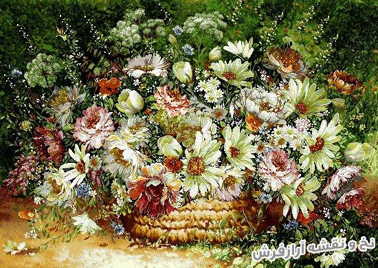 نخ و نقشه آماده بافت تابلوفرش طرح سبد گل های زیبای یاسمن و گل رز کد 1199