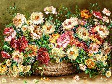 نخ و نقشه بافت تابلو فرش دستباف طرح سبد گل های وحشی رنگارنگ و زیبا کد 1203