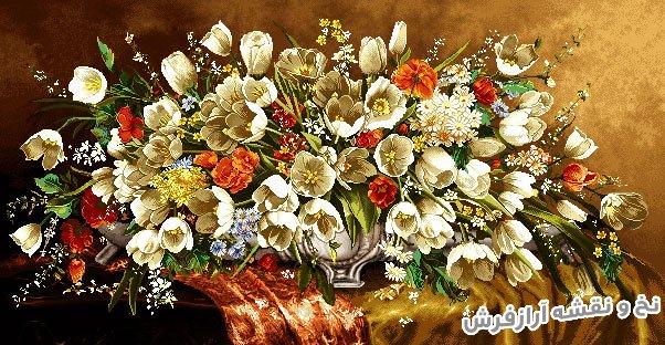 نخ و نقشه و مصالح بافت تابلو فرش طرح سبد گل لاله ریخته روی میز کد 1242
