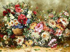نخ و نقشه تابلو فرش طرح سبد گل و گلدان با گلهای زیبا کد 1298
