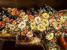 نخ و نقشه آماده بافت تابلو فرش دستباف طرح سبد گل رز ریخته با ترمه کد 1476