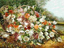 نخ و نقشه آماده بافت تابلو فرش طرح سبد گل لاله وحشی جنگلی کد 1478