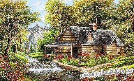 نخ و نقشه آماده بافت تابلوفرش طرح منظره کلبه جنگلی کد 2434