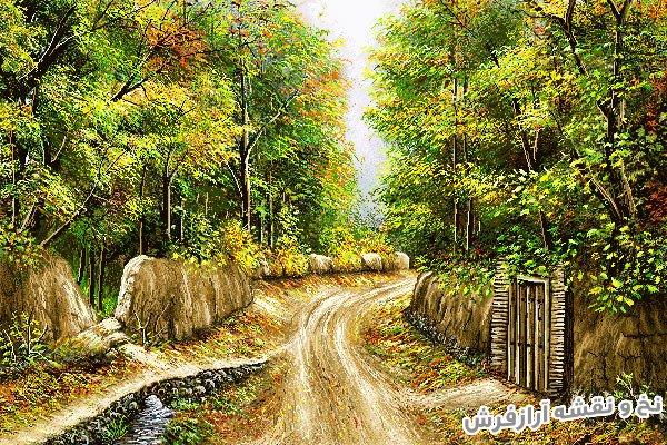 نخ و نقشه و مصالح بافت تابلو فرش دستباف طرح منظره پاییزی زیبای کوچه باغ قدیمی کد 2458