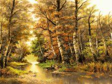 نخ و نقشه تابلو فرش تبریز طرح منظره پاییزی جنگل و رودخانه کد 2500