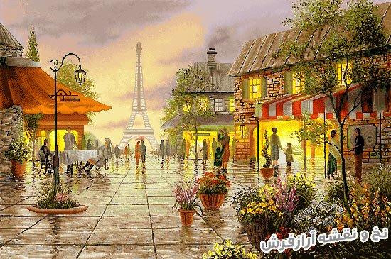 نخ و نقشه تابلو فرش طرح خیابان شانزلیزه پاریس کد 2507