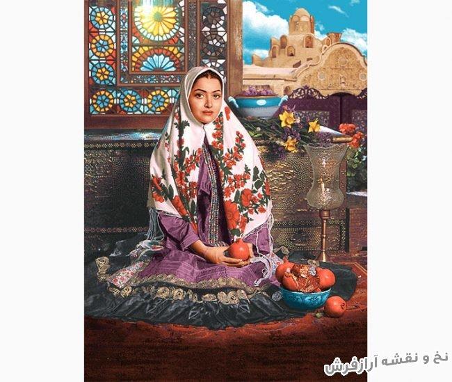 نخ و نقشه آماده بافت تابلو فرش طرح دختر قاجار کد 3283