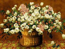 نخ و نقشه و مصالح بافت تابلو فرش طرح گلدان مسی گل لاله کد 1166
