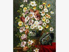 نخ و نقشه آماده بافت تابلو فرش طرح گلدان قندانی گل بابونه کد 1210