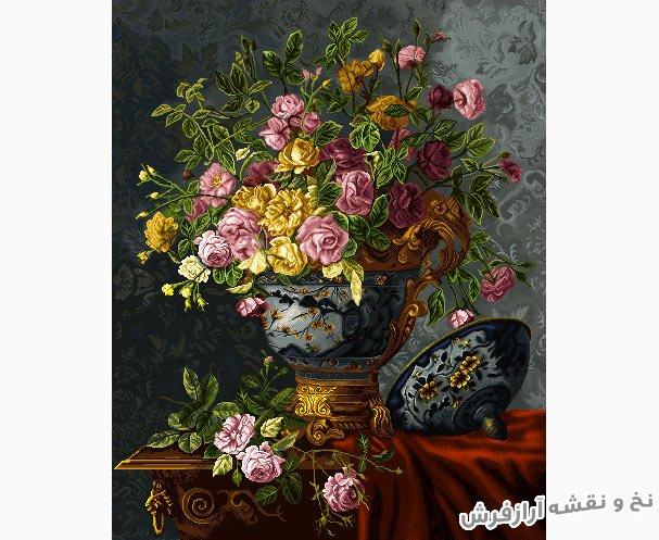 نخ و نقشه اماده بافت تابلو فرش کامپیوتری طرح گلدان قندانی گل رز روی میز کد 1218