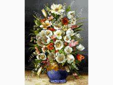 خرید آنلاین نخ و نقشه بافت تابلو فرش کامپیوتری طرح گلدان گل لاله کد 1480