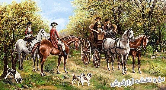 نخ و نقشه و مصالح بافت تابلوفرش طرح دیدار در جنگل اسب سواران کد 2444