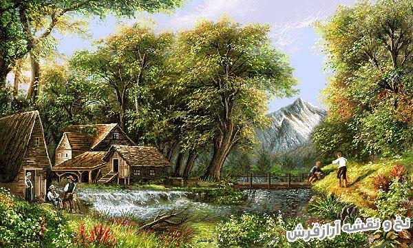 نخ و نقشه آماده بافت تابلوفرش طرح منظره کلبه و رودخانه در کوهستان کد 2483