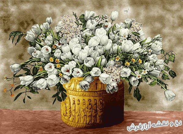 نخ و نقشه آماده بافت تابلو فرش طرح گلدان گل لاله کد 1139