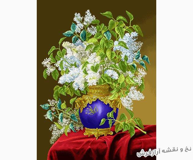 نخ و نقشه و مصالح آماده بافت تابلو فرش طرح گل و گلدان زیبا کد 1211