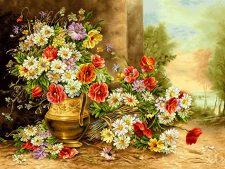 نخ و نقشه و مصالح آماده بافت تابلو فرش طرح گلدان زیبای گل بابونه کد 1267