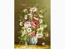 نخ و نقشه بافت تابلو فرش طرح گلدان گل رز کد 1430