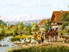 نخ و نقشه و مصالح بافت تابلو فرش طرح منظره دهکده و رودخانه کد 2450