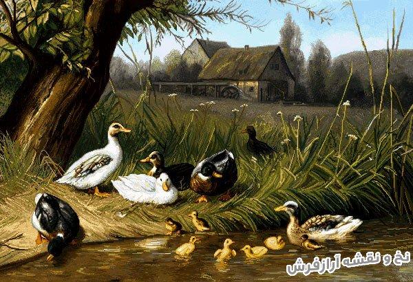 نخ و نقشه آماده بافت تابلو فرش اردک ها در مزرعه کد 2489