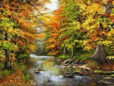 نخ و نقشه آماده بافت تابلو فرش منظره پاییزی رودخانه و جنگل کد 2526