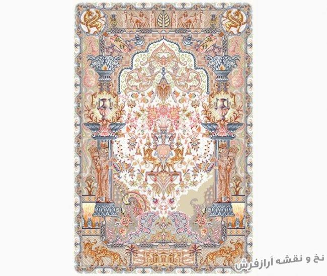 نخ و نقشه و مصالح بافت فرش و قالیچه تمام ابریشم کد 797