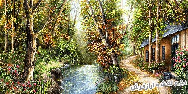 نخ و نقشه اصلی آماده بافت تابلو فرش طرح منظره کلبه و رودخانه در جنگل کد 2503
